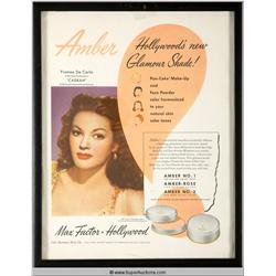 Amber Make-Up Advertisement 1948 Featuring Yvonne De Carlo {Max Factor Collection}