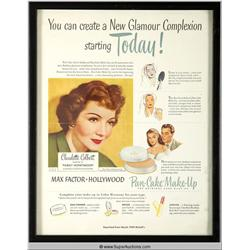 Pan-Cake Make-Up Advertisement 1949 Featuring Claudette Colbert {Max Factor Collection}
