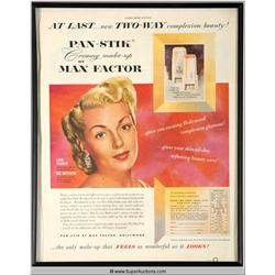 Pan-Stik Make-Up Advertisement 1951 Featuring Lana Turner {Max Factor Collection}