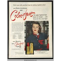 Color-Fast Lipstick Advertisement 1952 Featuring Diane Cassidy {Max Factor Collection}