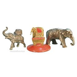 Lot Of 3 Mini Elephant Figures: