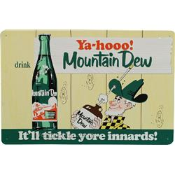 """Ya-Hooo!"" Mountain Dew Embossed Tin Sign,"