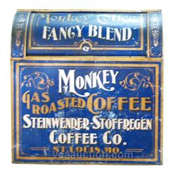 Monkey Gas Roasted Coffee Country Store Tin Bin Display