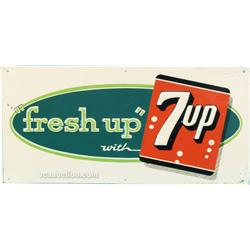 "7UP ""Fresh Up"" Embossed Tin Sign - 23"" x 11"""
