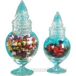 Lot Of 3 Glass Candy Jars w/ Stoppers