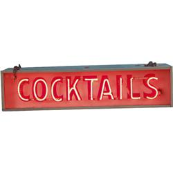 1950's Strip Mall  Cocktails  Neon Sign w/ Red Neon,