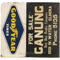 Lot Of 2 Double Sided Flange Tin Signs: