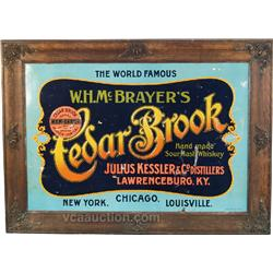 Cedar Brook Whiskey Embossed Cardboard Sign,