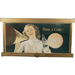 Coca Cola Lithograph Cardboard Sign In Original Coca Co