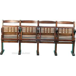 Old Wooden Attached Theater Style Folding Chairs