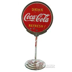 "Coca Cola Double Sided Porcelain Sidewalk ""Lollypop"" Si"