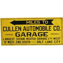 "Cullen Automobile Co. ""Garage"" Embossed Tin Sign"