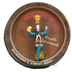 Round Plastic Light-Up Mechanical Blatz Beer Sign