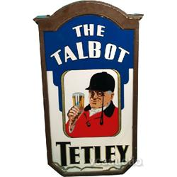 Antique Tetley Ale Double Sided Reverse Glass Sign,