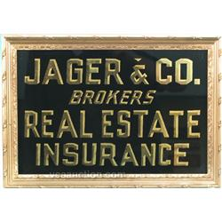 Jager & Co. Brokers Reverse On Glass Sign