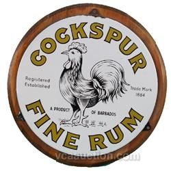 "Cockspur Fine Rum Round Porcelain Sign ""A Product Of Ba"