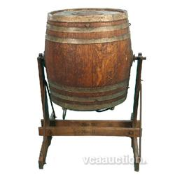 Old Wood & Metal Barrel On Wood Stand,
