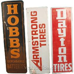 Lot Of 3 Large Embossed Tin Signs:
