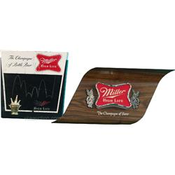 Lot Of 2 Plastic Light-Up Miller High Life Beer Signs
