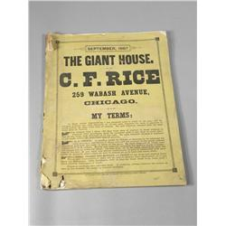 "1887 Catalog for C. F. Rice ""The Giant House"""