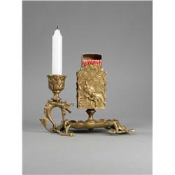 Bronze Match Box/Candle Holder and Ashtray
