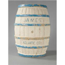 Paper mache advertising display barrel