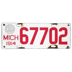 1914 Michigan Porcelain License Plate