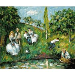 Cezanne  Couples Relaxing by a Pond  20x24 Signed Ltd Ed Oil on Canvas