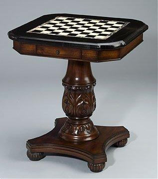 Antique Cherry Finish Chess Game Table