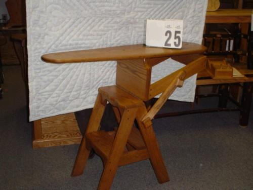 Image 1 : AMISH MADE ONIT CHAIR-IRONING BOARD-STEP STOOL - AMISH MADE ONIT CHAIR-IRONING BOARD-STEP STOOL