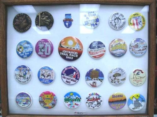 collection of iditarod booster buttons 1974 1998 frame size 15 x 19 54 loading zoom
