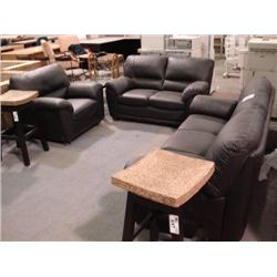 Black Leather 3-pcs Sofa, Loveseat And Chair Set