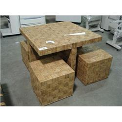 Wicker Square Table W/4 Stools