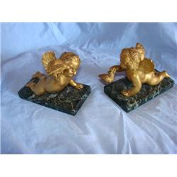 Heavy Marble Base Cherub Bookends