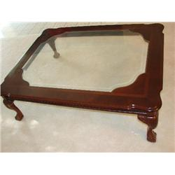 glass top coffee table w ball claw feet j m wood auction company inc. Black Bedroom Furniture Sets. Home Design Ideas