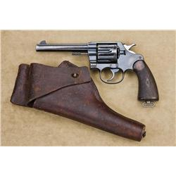 "Colt U.S.M.C. marked New Service Model 1909 DA revolver, .45 cal., 5-1/2"" barrel, blue finish, check"