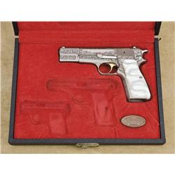 "Browning Renaissance engraved High Power semi-auto pistol, engraved, 9mm cal., 4-1/2"" barrel, stainl"