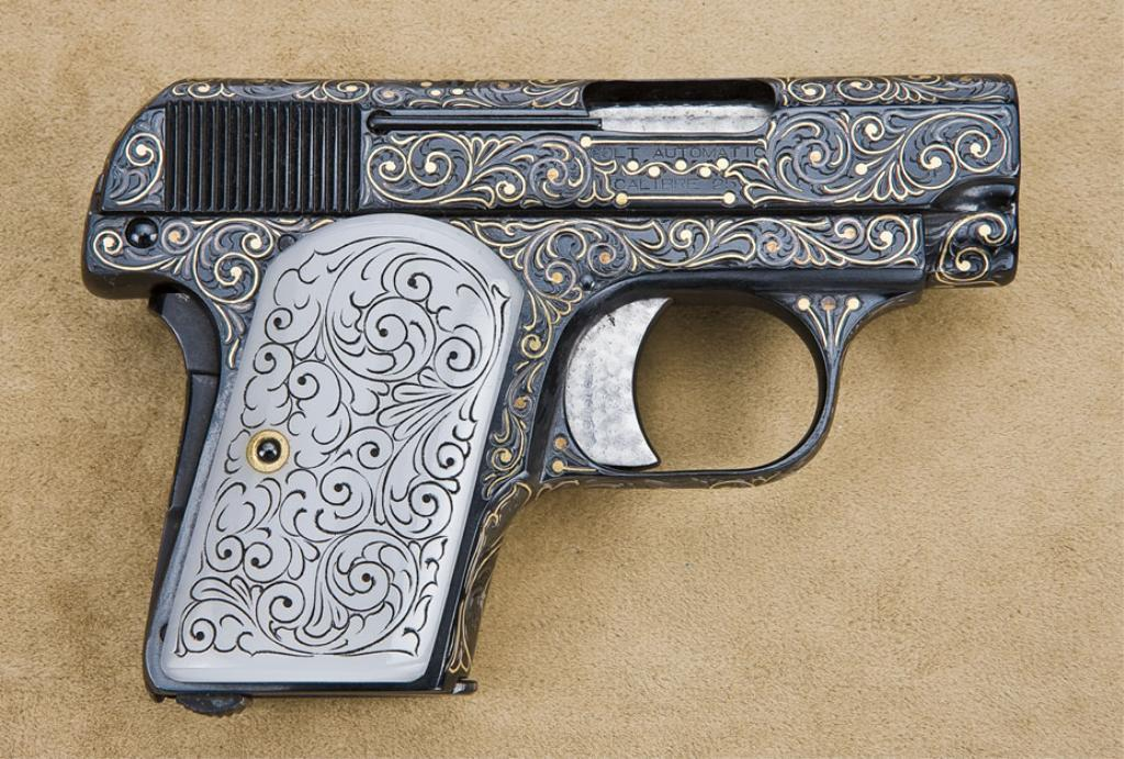 colt model 1908 25 caliber semiautomatic pistol finely engraved
