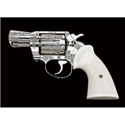 Custom engraved Colt Detectives Special revolver, .38 Spl. cal., 2  barrel, nickel finish, custom ch