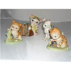 Four Collectible Striped Cats