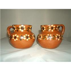Two Handpainted Clay Pots