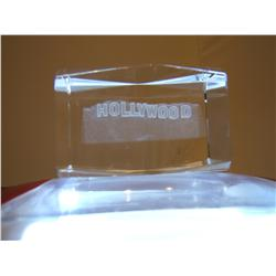 3-D Etched Glass Paperweight - Hollywood