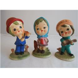 Violin, Tambourine & Guitar Playing Figurines