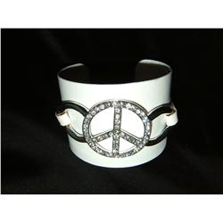 Crystal & Leather Peace Cuff Bracelet
