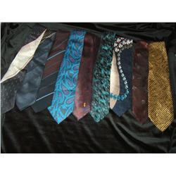 Nine designer silk ties