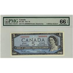Million 1954 $5 BC-39b Y/S4000000 PMG UNC66EPQ