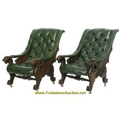 Pr. Karpen Oak Griffin  Sleepy Hollow  Chairs