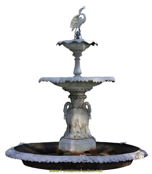Large 8u0027 Cast Iron 19th C. Fountain By Fiske. Loading Zoom