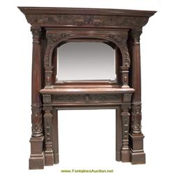Monumental 9 39 Carved Mahogany Fireplace Mantle
