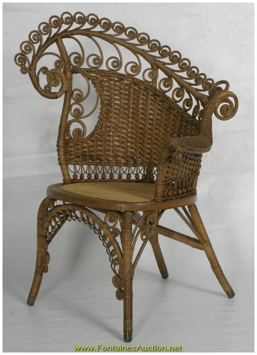 Fancy Victorian Natural Wicker Photographers Chair. Loading Zoom